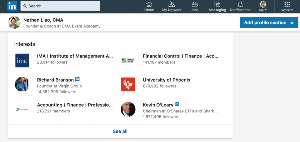 screenshot-linkedin-showing-how-to-follow-influencers-to-enhance-your-cma-resume